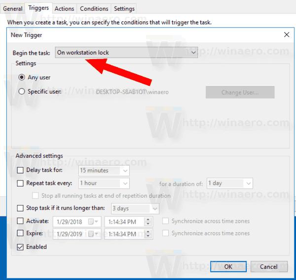 Windows 10 Lock Sound Task Trigger