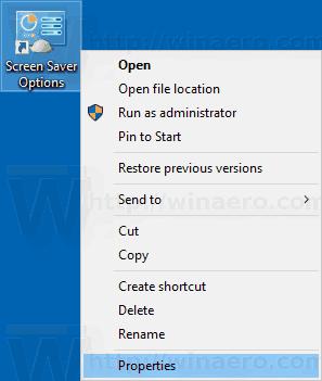 Windows 10 Screen Saver Shortcut Context Menu