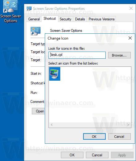Windows 10 Screen Saver Shortcut Icon