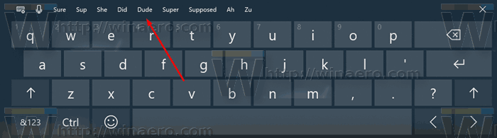 Windows 10 Touch Keyboard Suggestions