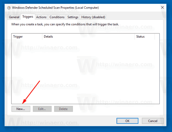 Windows Defender Scheduled Task New Trigger