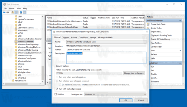 Windows Defender Scheduled Task