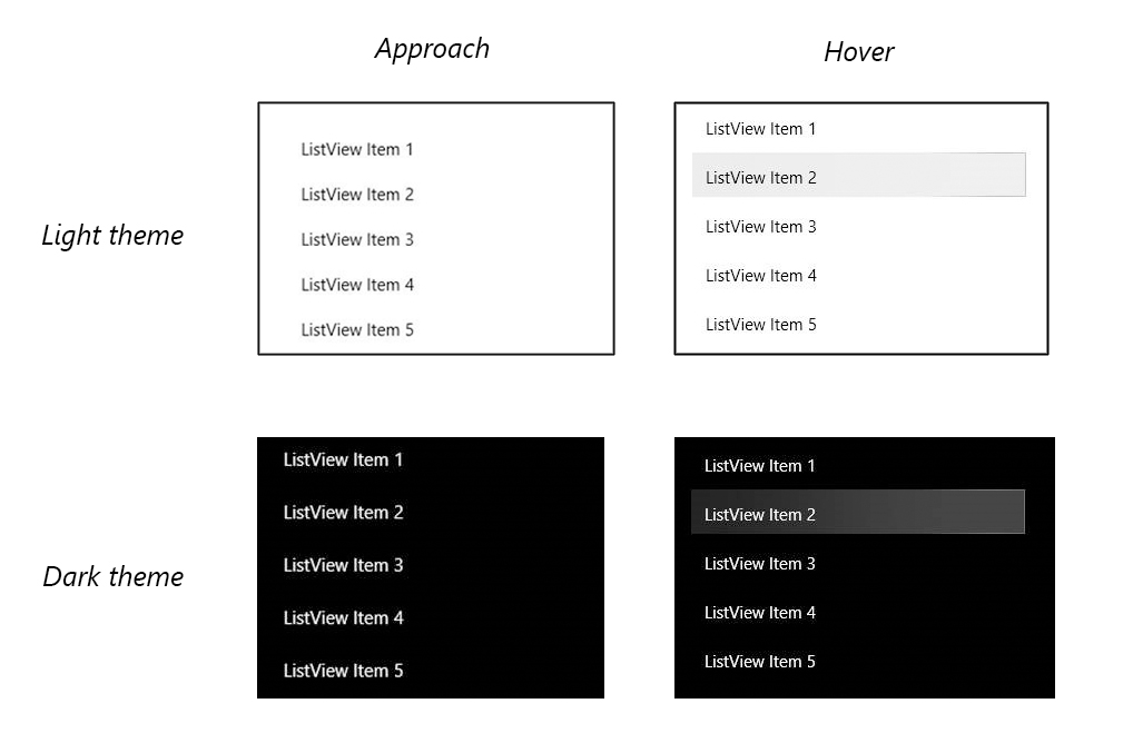 Comparing approach and hover for dark and light theme as described in the above changes blurb.