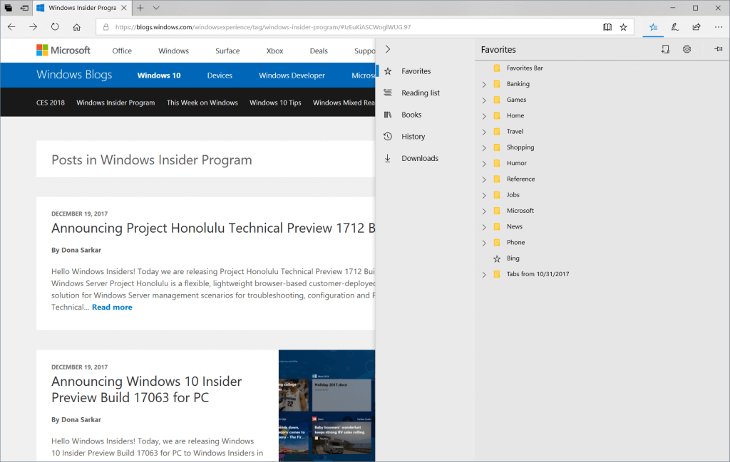 Screen capture showing the new Hub opened in Microsoft Edge, with the Navigation pane expanded to show Favorites, Reading List, Books, History, and Downloads.