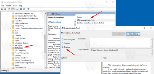 Disable Timeline With Group Policy