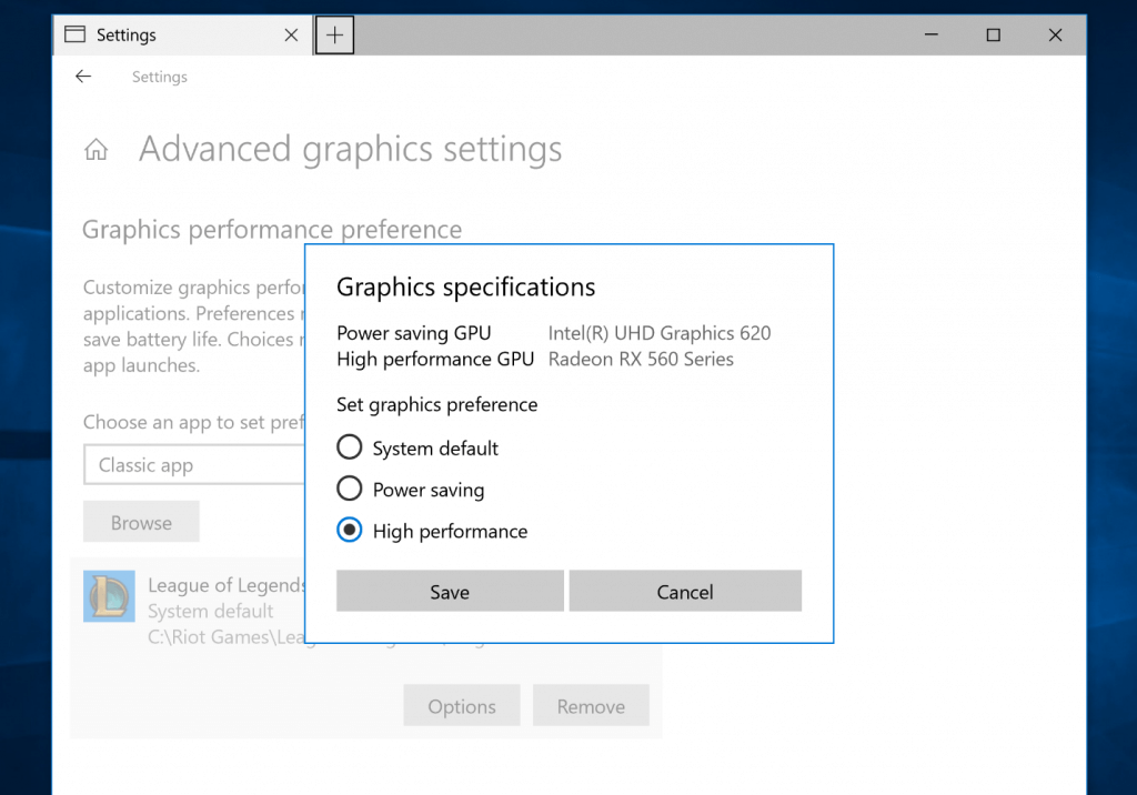 Graphics specifications popup, showing the option to switch graphics preference between system default, power saving, and high performance.