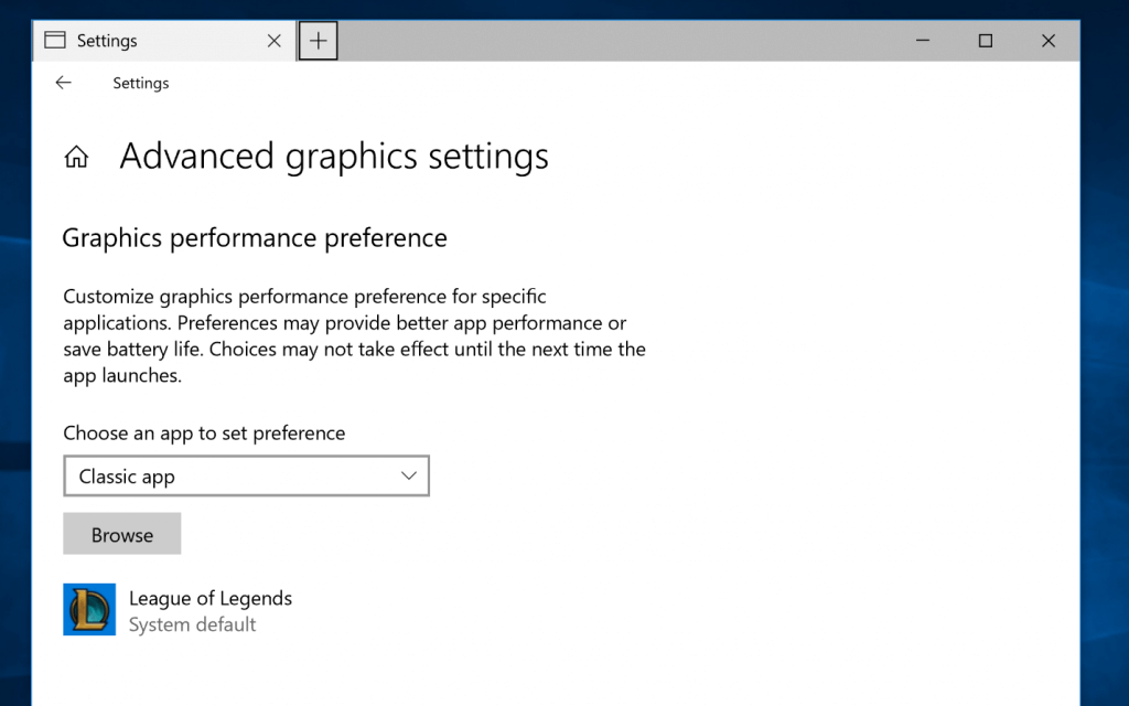 Picture of advanced graphics settings page in Settings. You can choose an app to select graphics performance preference – there's a dropdown to choose between classic app and universal app.
