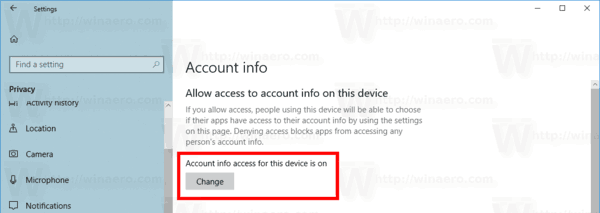 Account Info Access In Windows 10
