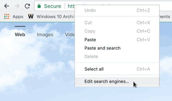 Chrome 64 New Tab Page Omni Box Context Menu