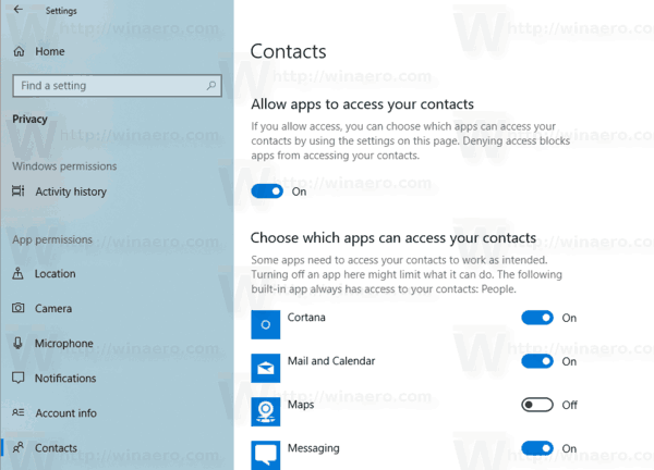 Disable Access To Contacts For Certain Apps