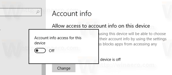 Disable Account Info Access In Windows 10