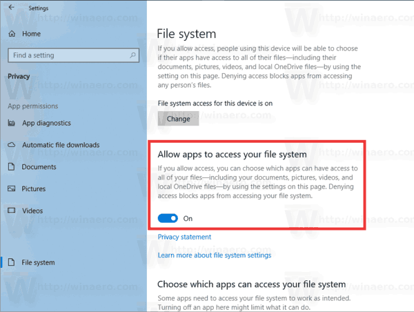 Disable App Access To File System Individually
