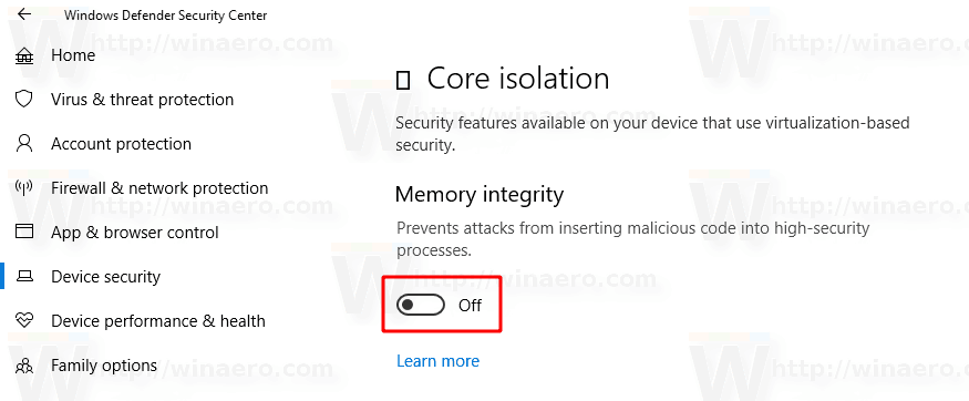 Enable Core Isolation Memory Integrity In Windows 10