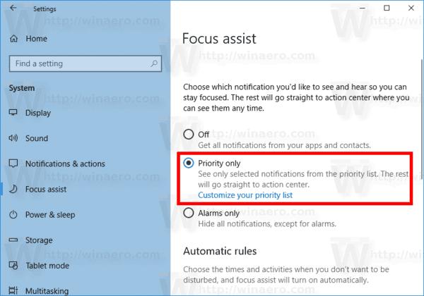 Enable Focus Assist In Windows 10
