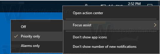 Enable Focus Assist Using The Tasbkar Context Menu