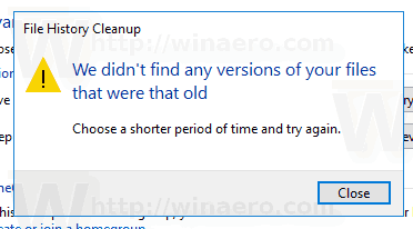 File History Clean Up Versions Shorter Period