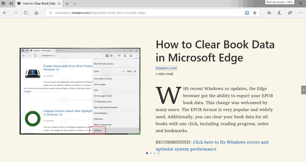 Microsoft Edge Reading View Enabled