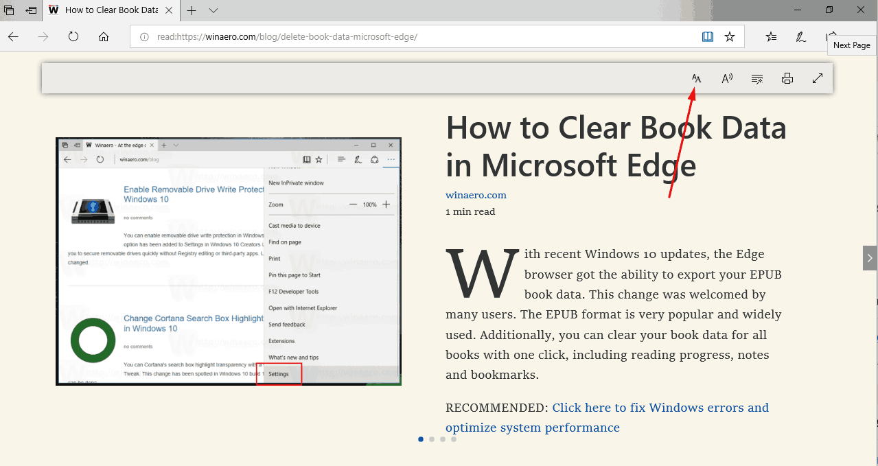 Microsoft Edge Reading View Preferences Button