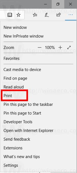 Microsoft Edge Menu Print