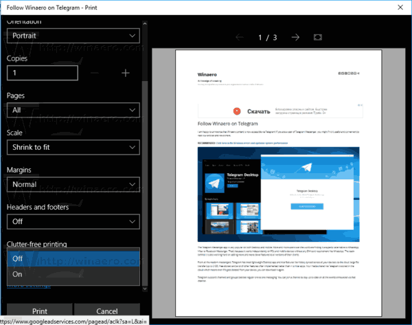 Microsoft Edge Print Dialog Clutter Free Option