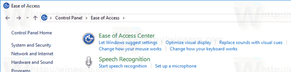 Windows 10 Control Panel Ease Of Access Center Icon