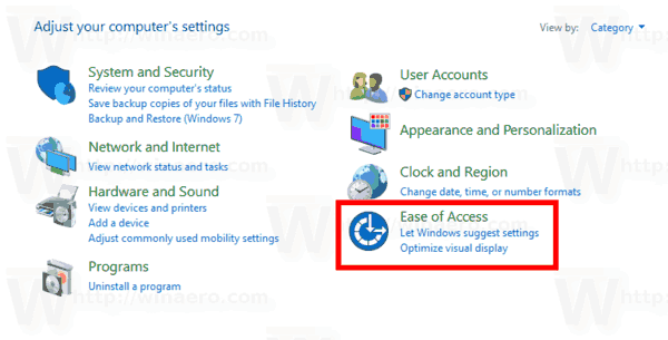 Windows 10 Control Panel Ease Of Access Icon