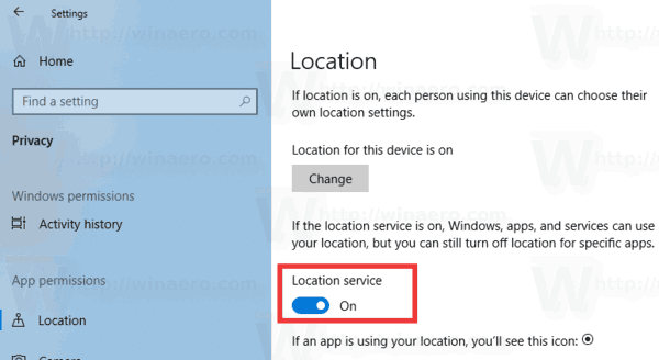Windows 10 Disable Location Service