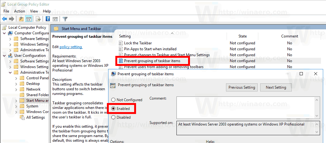 Windows 10 Disable Taskbar Groupping Group Policy