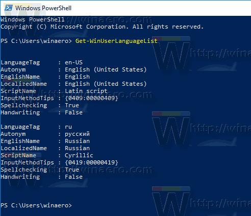 Windows 10 Get Installed Keyboard Layouts With PowerShell
