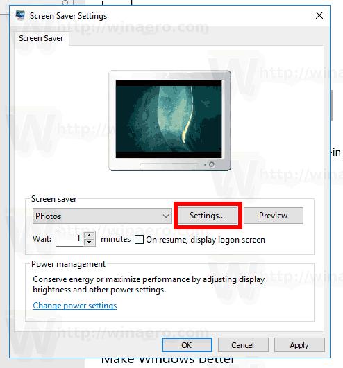 Windows 10 Open Photos Saver Settings