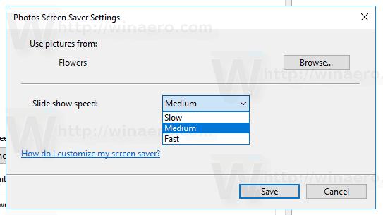 Windows 10 Photos Saver Slide Show Speed
