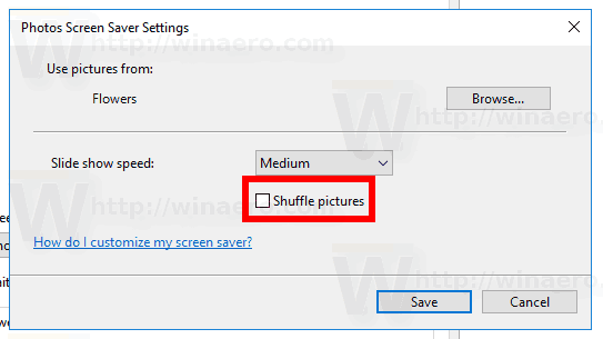 Windows 10 Photos Saver Slide Shuffle