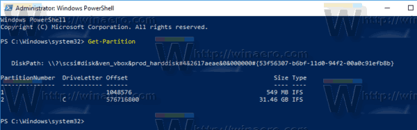 Windows 10 PowerShell Get Partition