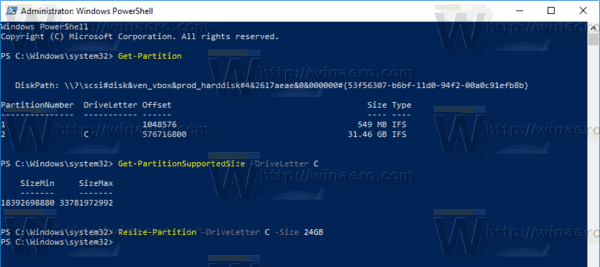 Windows 10 PowerShell Resize Partition