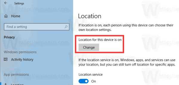 Windows 10 Privacy Location Change