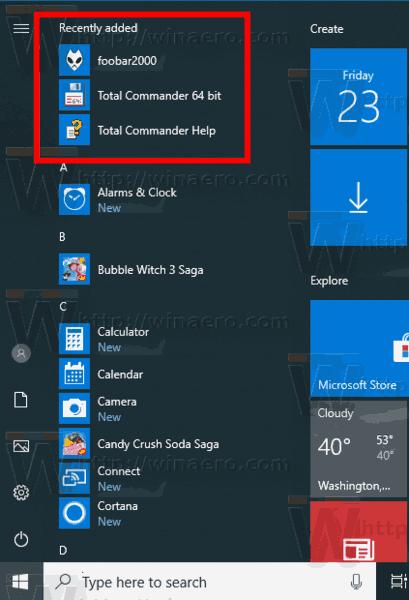Windows 10 Recently Added Apps In Start Menu