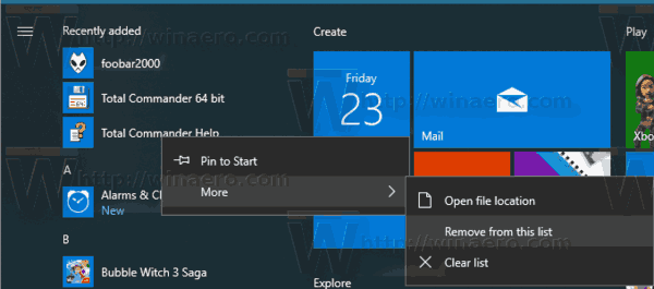 Windows 10 Recently Added Apps Remove Single Item