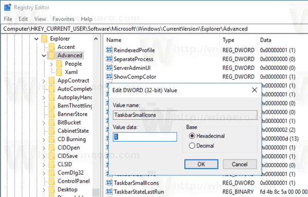 Windows 10 Small Taskbar Buttons Tweak