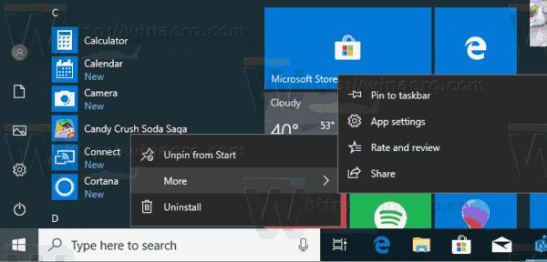 Windows 10 Start Context Menus