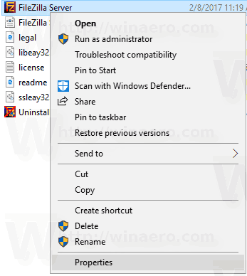 Windows 10 App Context Menu