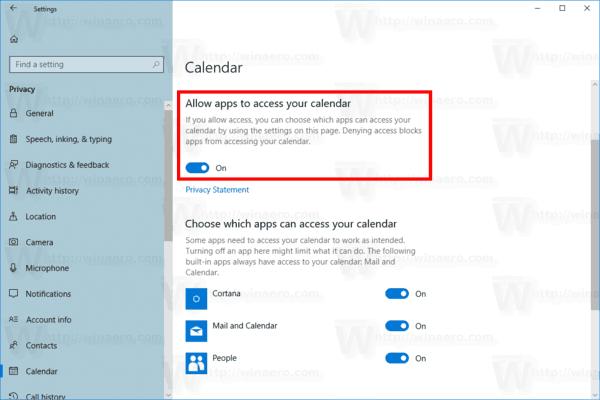 Windows 10 Calendar Access For Apps