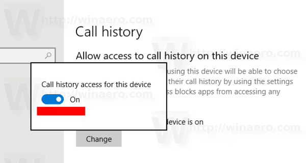 Windows 10 Call History Privacy Option