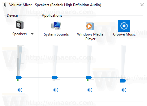 Windows 10 Classic Volume Mixer App