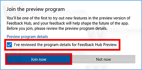 Windows 10 Confirm Joining App Preview Program
