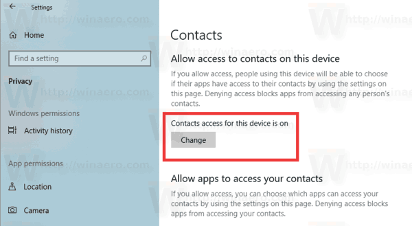 Windows 10 Contacts Access Permissions