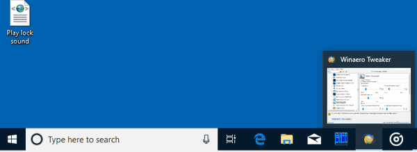 Windows 10 Default Taskbar Thumbnail Size