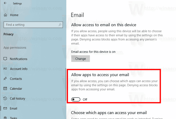 Windows 10 Disable Access To Email For All Apps