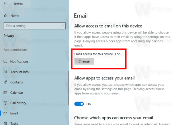 Windows 10 Disable Access To Email