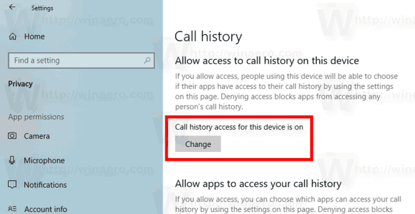 Windows 10 Disable App Access To Call History