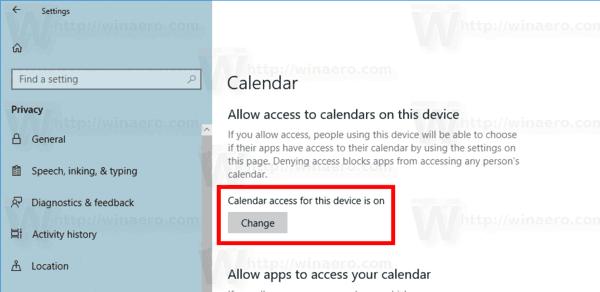 Windows 10 Disable Calendar Access